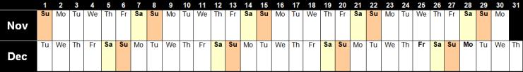 Availability Calendar 2020 Nov & Dec image 9.4.20