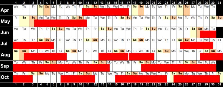 Availability Calendar 2020 image 14.9.20